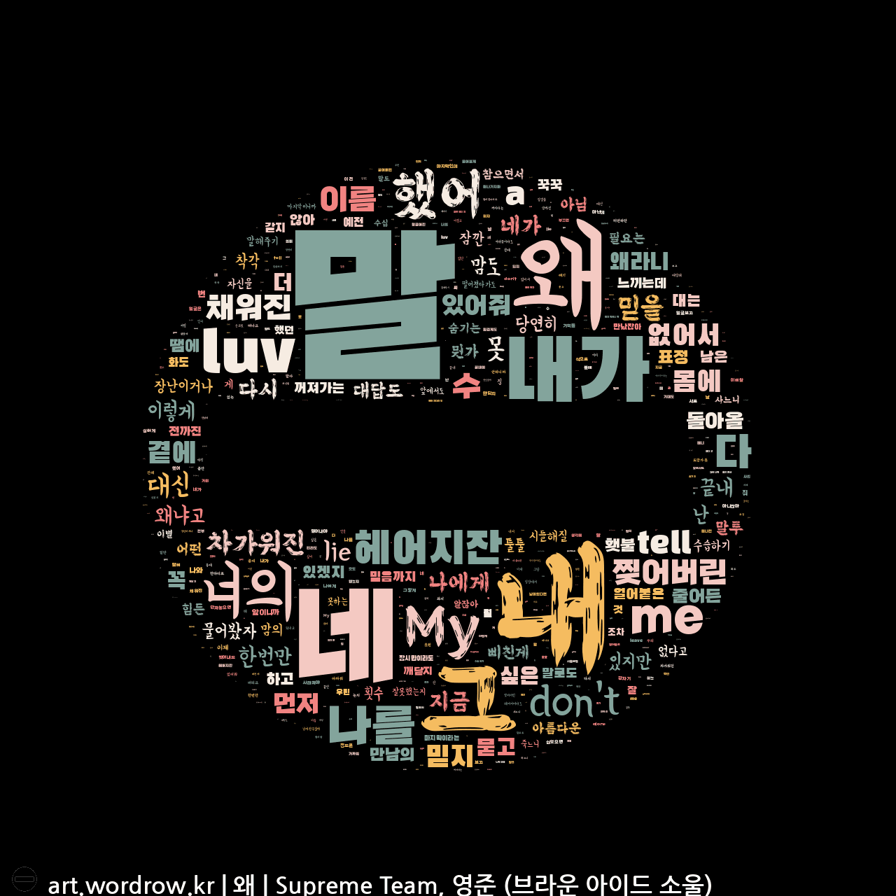 워드 클라우드: 왜 [Supreme Team, 영준 (브라운 아이드 소울)]-26